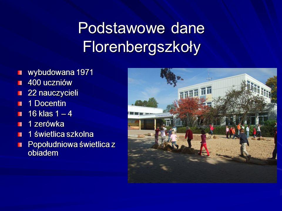 Podstawowe dane Florenbergszkoły wybudowana 1971 400 uczniów 22 nauczycieli 1 Docentin 16 klas 1 – 4 1 zerówka 1 świetlica szkolna Popołudniowa świetlica z obiadem