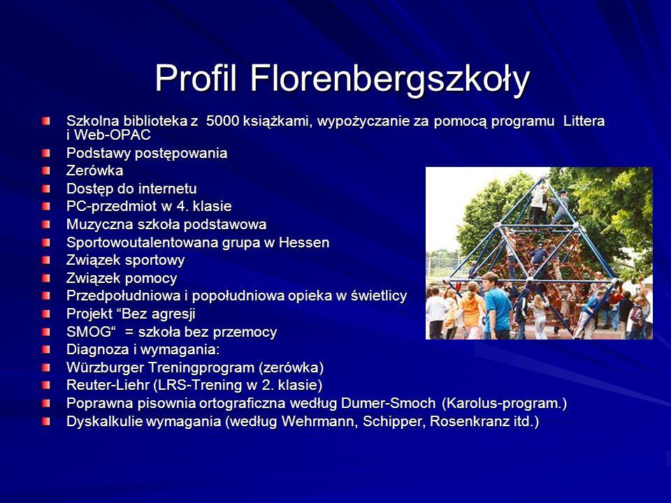 Profil Florenbergszkoły Szkolna biblioteka z 5000 książkami, wypożyczanie za pomocą programu Littera i Web-OPAC Podstawy postępowania Zerówka Dostęp do internetu PC-przedmiot w 4.