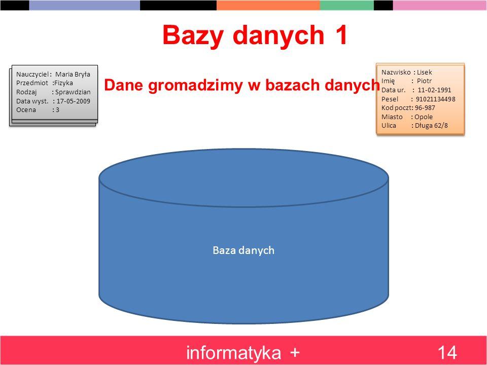 Bazy danych 1 informatyka +14 Baza danych Nazwisko : Kotek Imię : Jasio Data ur. : 07-11-1991 Pesel : 07111134498 Kod poczt: 26-987 Miasto : Sopot Uli