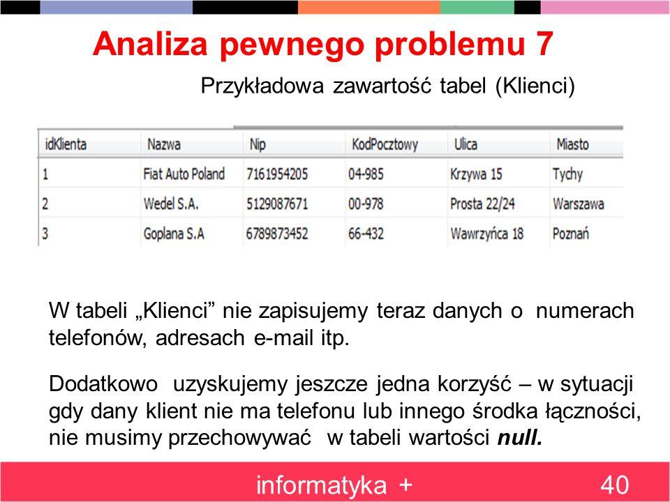 Analiza pewnego problemu 7 informatyka +40 Przykładowa zawartość tabel (Klienci) W tabeli Klienci nie zapisujemy teraz danych o numerach telefonów, ad