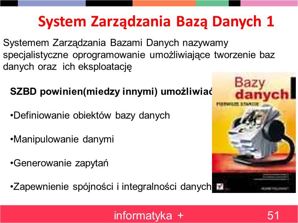 System Zarządzania Bazą Danych 1 informatyka +51 Systemem Zarządzania Bazami Danych nazywamy specjalistyczne oprogramowanie umożliwiające tworzenie ba