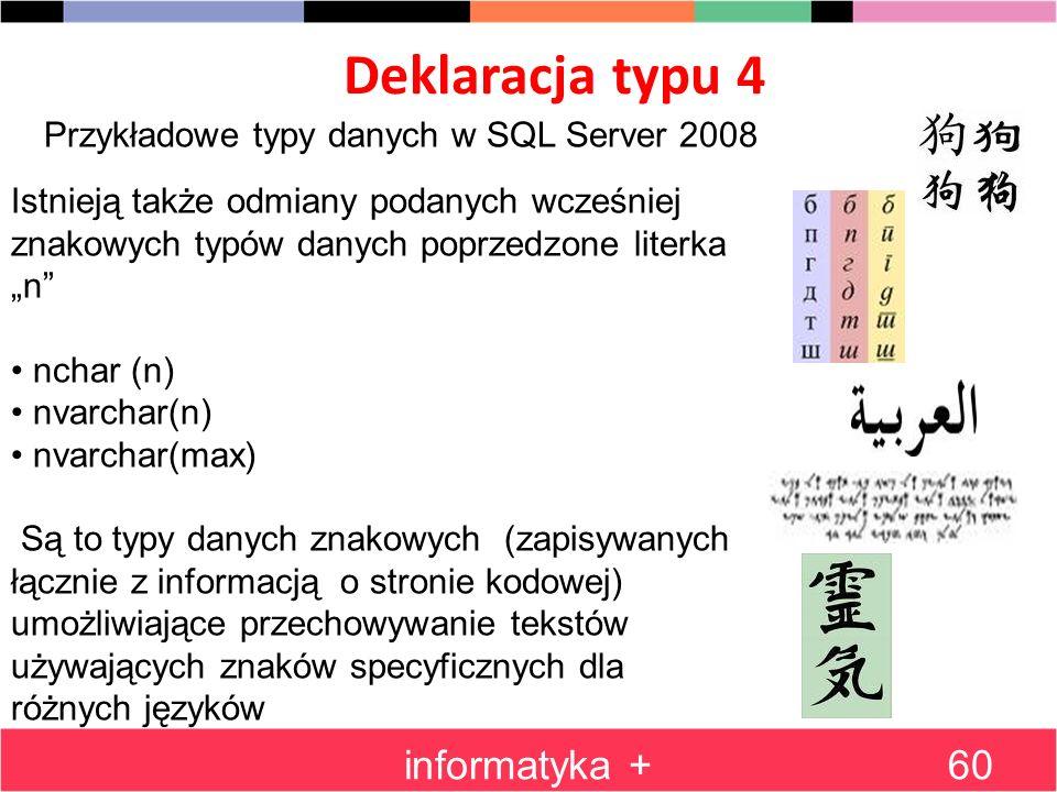 Deklaracja typu 4 informatyka +60 Przykładowe typy danych w SQL Server 2008 Istnieją także odmiany podanych wcześniej znakowych typów danych poprzedzo