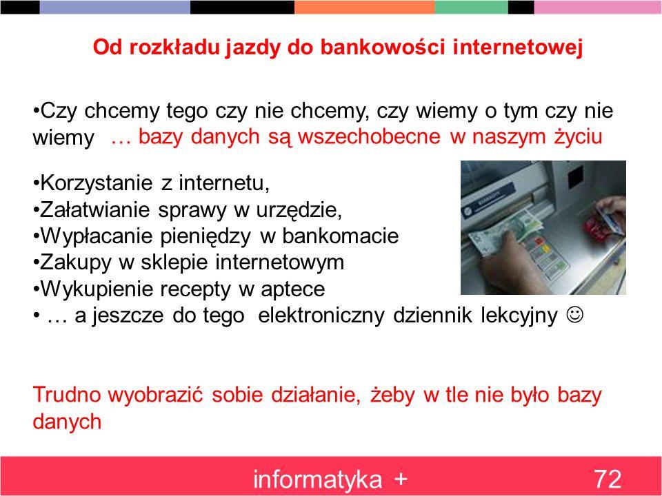 Od rozkładu jazdy do bankowości internetowej informatyka +72 Czy chcemy tego czy nie chcemy, czy wiemy o tym czy nie wiemy … bazy danych są wszechobec