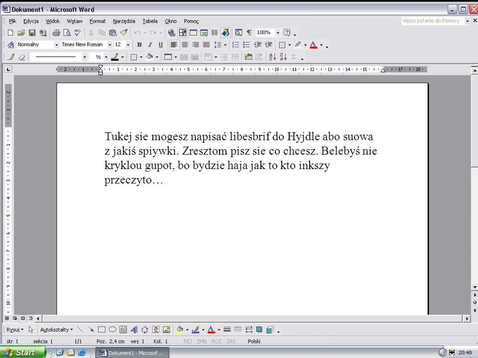 Tukej sie mogesz napisać libesbrif do Hyjdle abo suowa z jakiś spiywki.