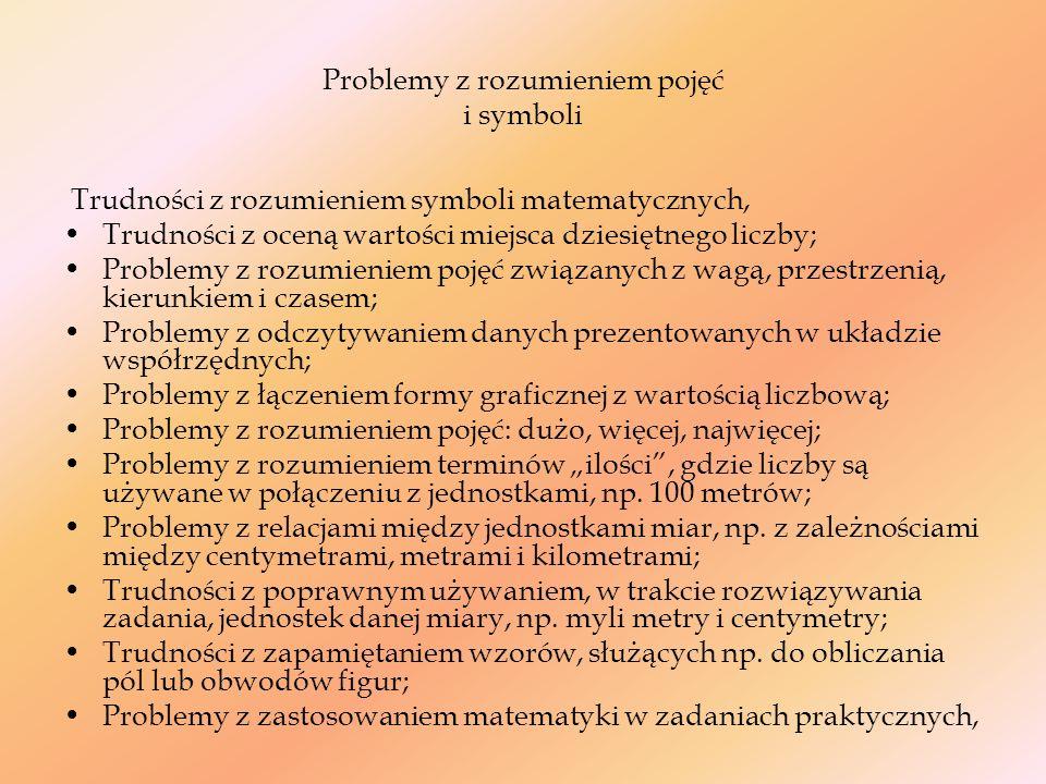 Problemy ze złożonym myśleniem Trudność w wybraniu właściwej strategii w rozwiązywaniu problemów (sztywność w myśleniu); Problemy z następstwem kolejnych kroków w zadaniach matematycznych; Problemy z rozsądnym oszacowaniem, Trudności z utrzymaniem jednego ciągu myśli podczas rozwiązywania problemów matematycznych, Trudności z planowaniem, rozwiązania zadania; Problemy z przechodzeniem z poziomu konkretów na poziom abstrakcyjnego myślenia.