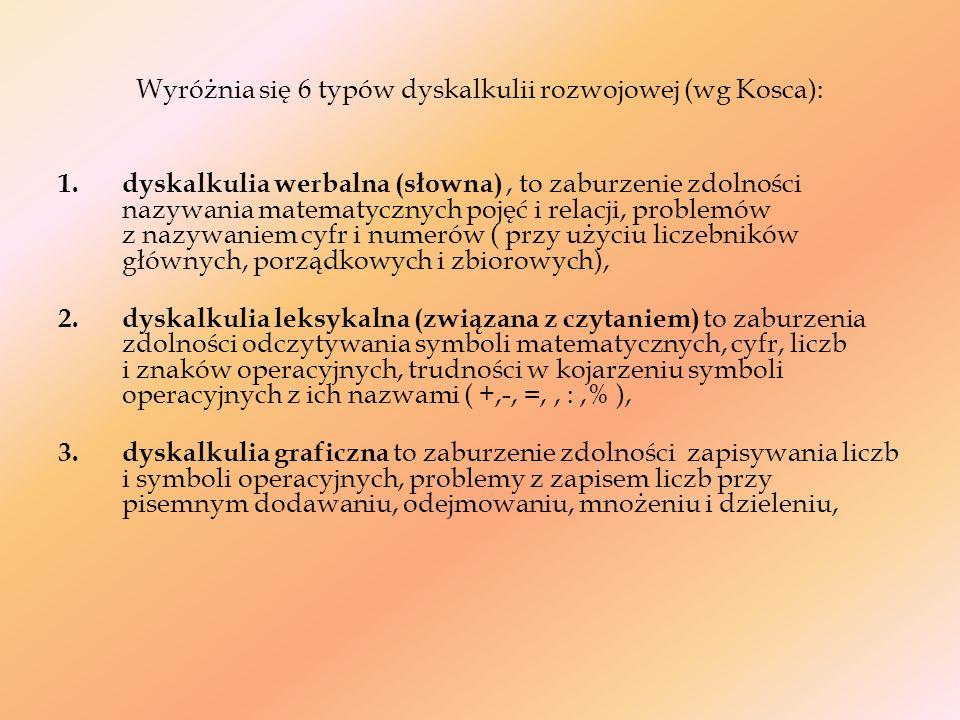 Wyróżnia się 6 typów dyskalkulii rozwojowej (wg Kosca): 1. dyskalkulia werbalna (słowna), to zaburzenie zdolności nazywania matematycznych pojęć i rel