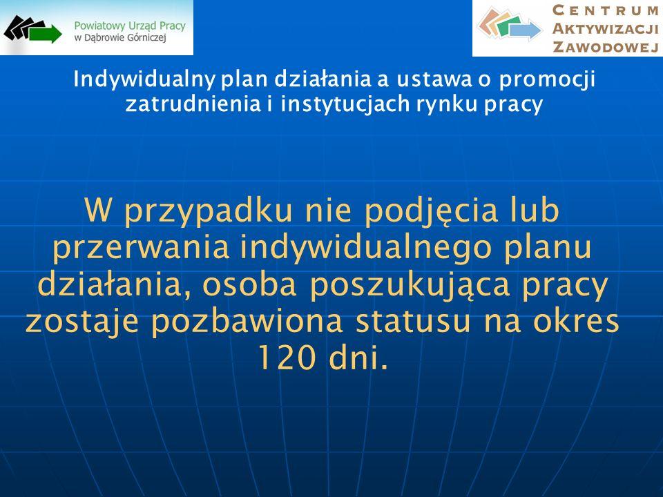 Indywidualny plan działania a ustawa o promocji zatrudnienia i instytucjach rynku pracy W przypadku nie podjęcia lub przerwania indywidualnego planu d