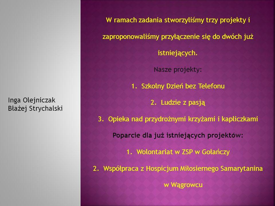 Inga Olejniczak Błażej Strychalski W ramach zadania stworzyliśmy trzy projekty i zaproponowaliśmy przyłączenie się do dwóch już istniejących. Nasze pr