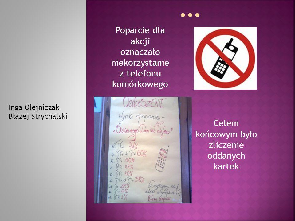 Poparcie dla akcji oznaczało niekorzystanie z telefonu komórkowego Inga Olejniczak Błażej Strychalski Celem końcowym było zliczenie oddanych kartek