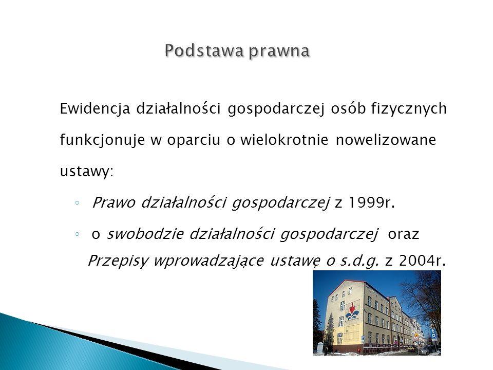 Ewidencja działalności gospodarczej osób fizycznych funkcjonuje w oparciu o wielokrotnie nowelizowane ustawy: Prawo działalności gospodarczej z 1999r.
