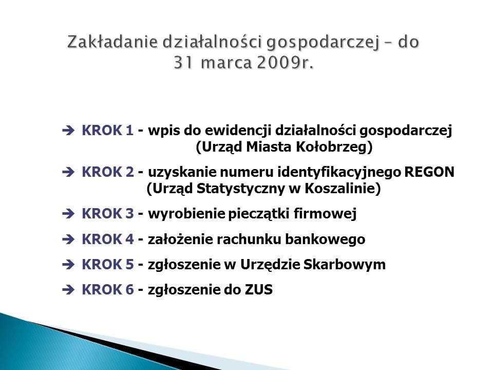 KROK 1 - wpis do ewidencji działalności gospodarczej (Urząd Miasta Kołobrzeg) KROK 2 - uzyskanie numeru identyfikacyjnego REGON (Urząd Statystyczny w Koszalinie) KROK 3 - wyrobienie pieczątki firmowej KROK 4 - założenie rachunku bankowego KROK 5 - zgłoszenie w Urzędzie Skarbowym KROK 6 - zgłoszenie do ZUS