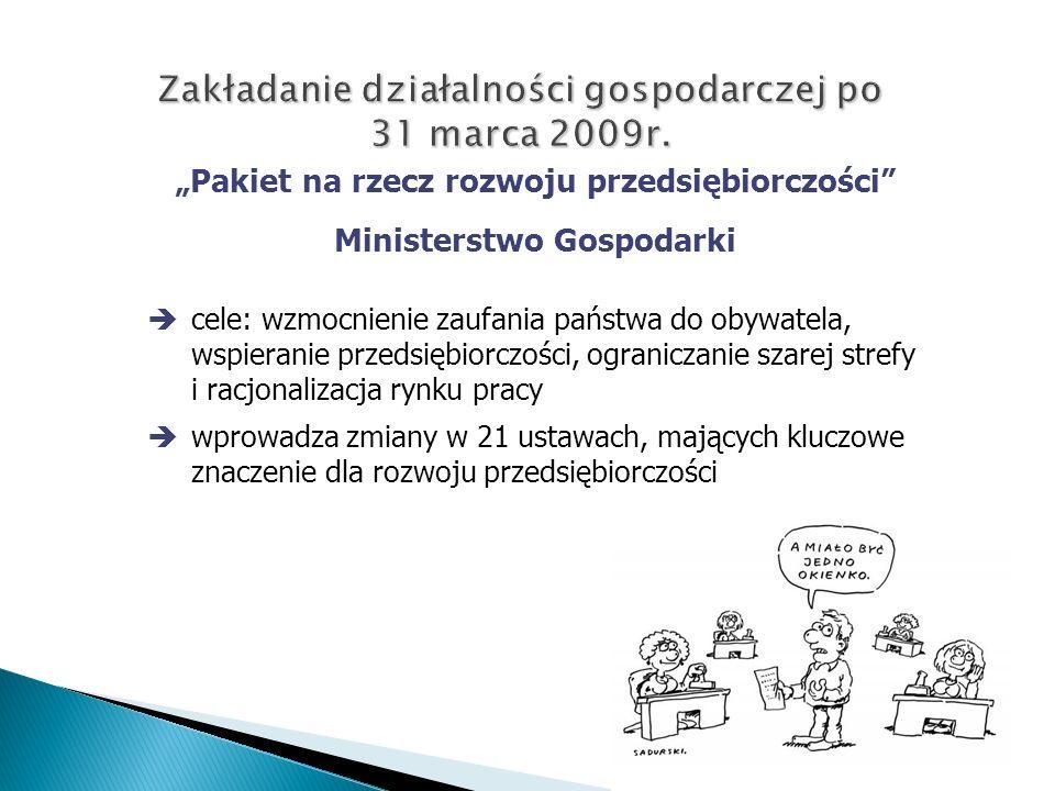 Pakiet na rzecz rozwoju przedsiębiorczości Ministerstwo Gospodarki cele: wzmocnienie zaufania państwa do obywatela, wspieranie przedsiębiorczości, ograniczanie szarej strefy i racjonalizacja rynku pracy wprowadza zmiany w 21 ustawach, mających kluczowe znaczenie dla rozwoju przedsiębiorczości