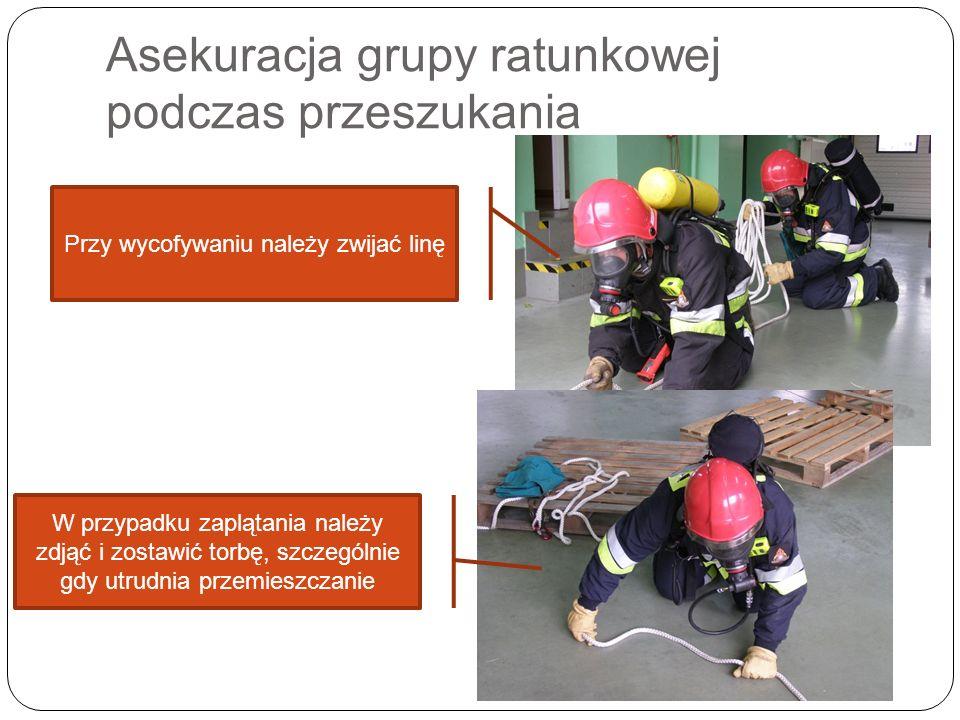 Asekuracja grupy ratunkowej podczas przeszukania Przy wycofywaniu należy zwijać linę W przypadku zaplątania należy zdjąć i zostawić torbę, szczególnie