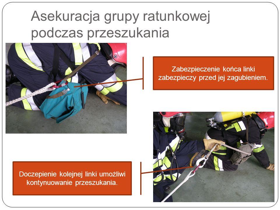 Asekuracja grupy ratunkowej podczas przeszukania Zabezpieczenie końca linki zabezpieczy przed jej zagubieniem. Doczepienie kolejnej linki umożliwi kon