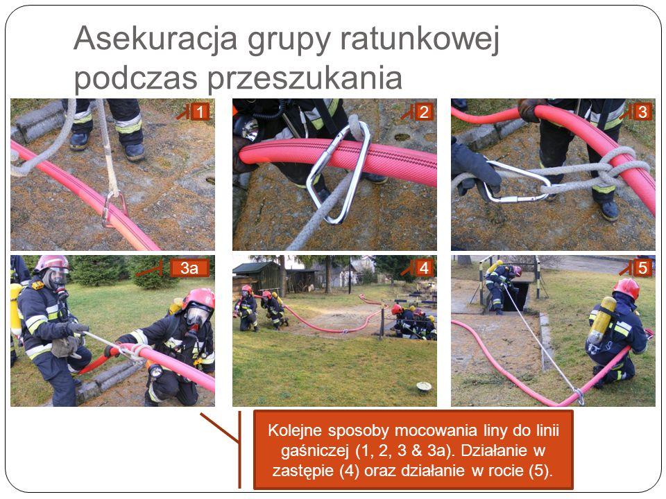 Asekuracja grupy ratunkowej podczas przeszukania 1233a45 Kolejne sposoby mocowania liny do linii gaśniczej (1, 2, 3 & 3a). Działanie w zastępie (4) or