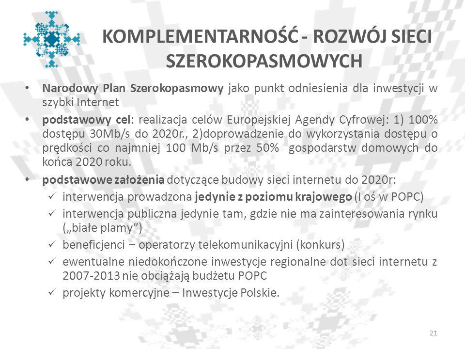 Narodowy Plan Szerokopasmowy jako punkt odniesienia dla inwestycji w szybki Internet podstawowy cel: realizacja celów Europejskiej Agendy Cyfrowej: 1)
