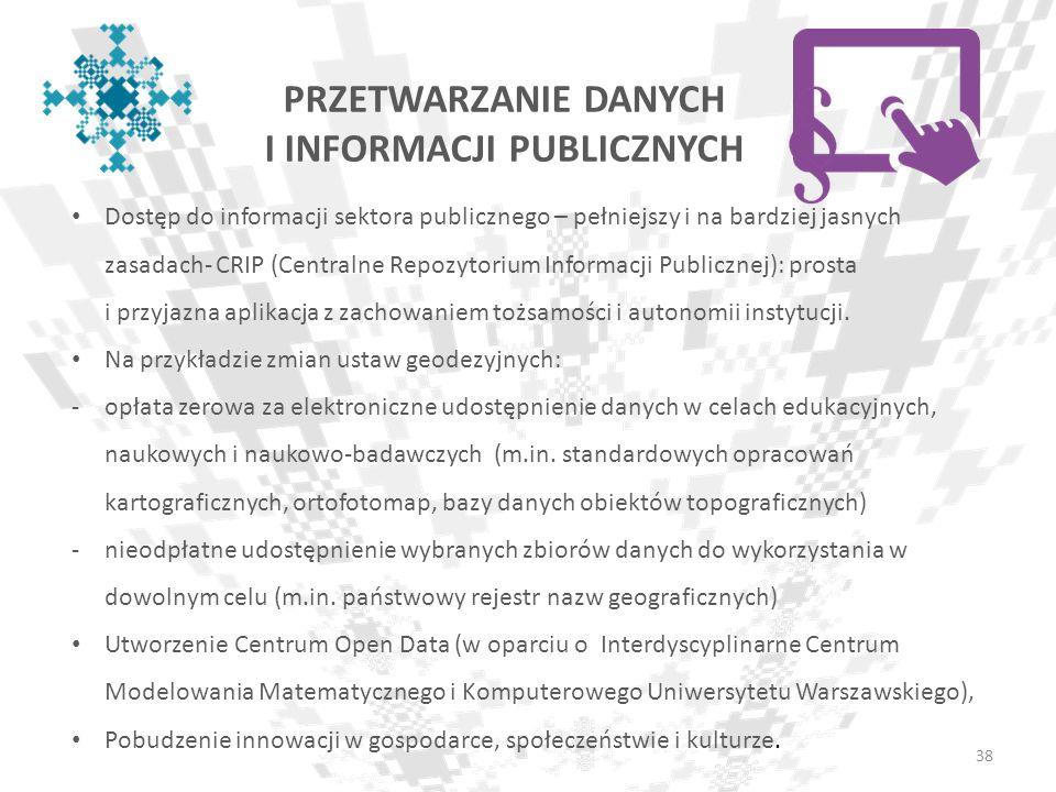 PRZETWARZANIE DANYCH I INFORMACJI PUBLICZNYCH 38 Dostęp do informacji sektora publicznego – pełniejszy i na bardziej jasnych zasadach- CRIP (Centralne