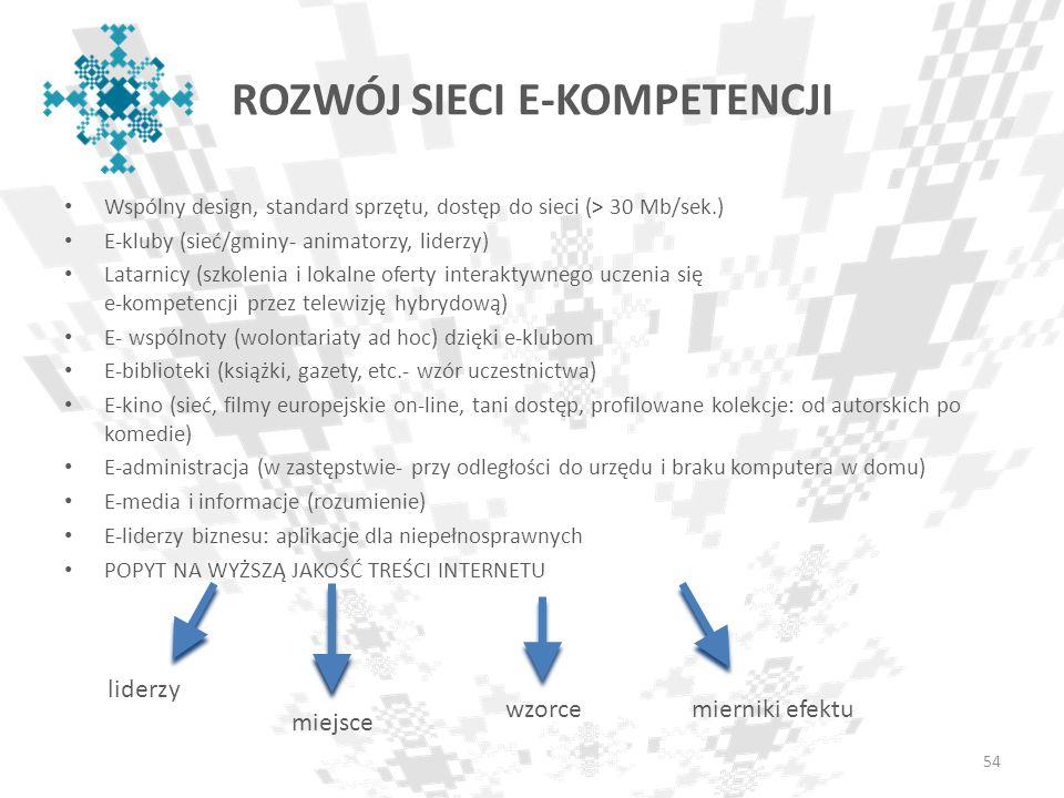 ROZWÓJ SIECI E-KOMPETENCJI Wspólny design, standard sprzętu, dostęp do sieci (> 30 Mb/sek.) E-kluby (sieć/gminy- animatorzy, liderzy) Latarnicy (szkol