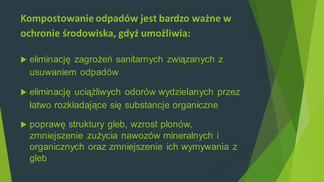 Kompostowanie odpadów jest bardzo ważne w ochronie środowiska, gdyż umożliwia: eliminację zagrożeń sanitarnych związanych z usuwaniem odpadów eliminac