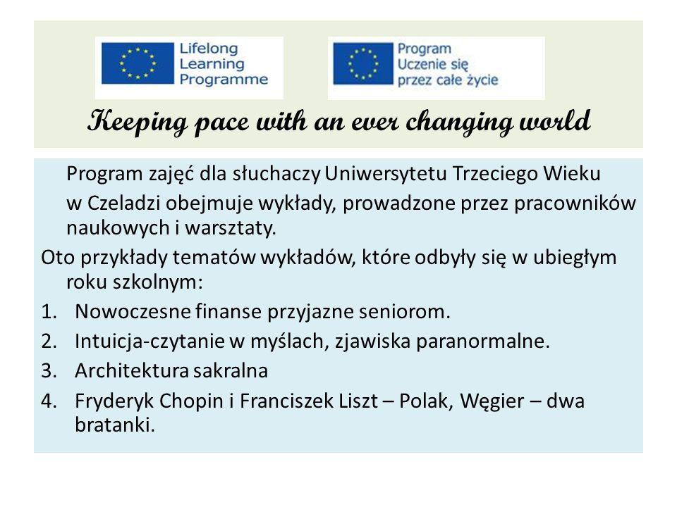 Program zajęć dla słuchaczy Uniwersytetu Trzeciego Wieku w Czeladzi obejmuje wykłady, prowadzone przez pracowników naukowych i warsztaty.