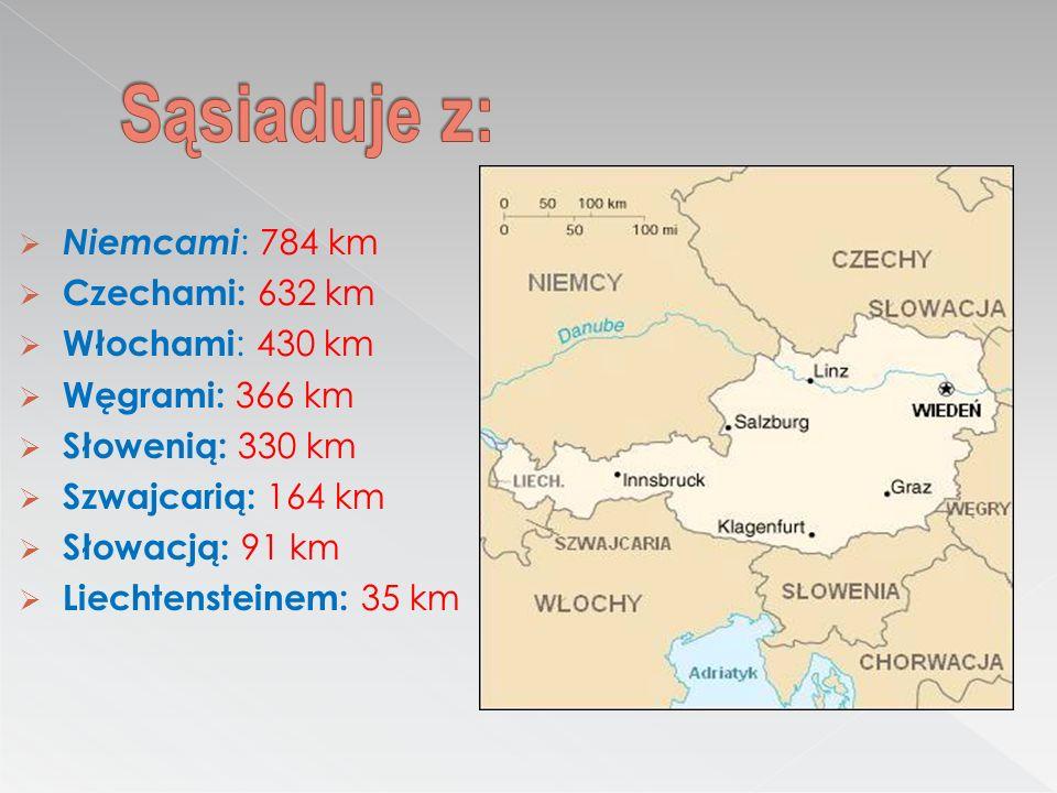 Niemcami : 784 km Czechami: 632 km Włochami : 430 km Węgrami: 366 km Słowenią: 330 km Szwajcarią: 164 km Słowacją: 91 km Liechtensteinem: 35 km