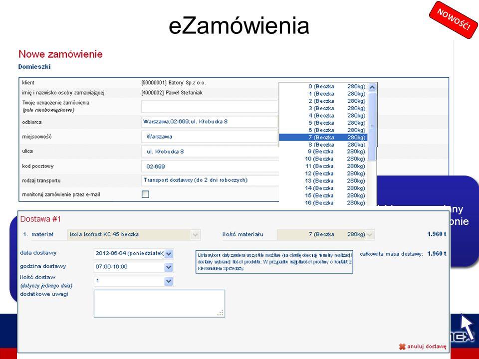 eZamówienia Moduł eZamówienia służy do składania zamówień on-line i śledzenia ich realizacji. eZamówienia można złożyć na produkty CEMEX: cement luzem