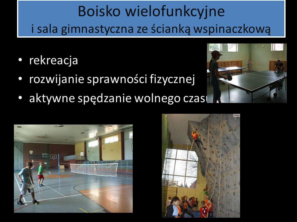 Boisko wielofunkcyjne i sala gimnastyczna ze ścianką wspinaczkową rekreacja rozwijanie sprawności fizycznej aktywne spędzanie wolnego czasu