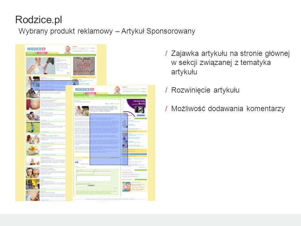 /Zajawka artykułu na stronie głównej w sekcji związanej z tematyka artykułu /Rozwinięcie artykułu /Możliwość dodawania komentarzy Rodzice.pl Wybrany produkt reklamowy – Artykuł Sponsorowany