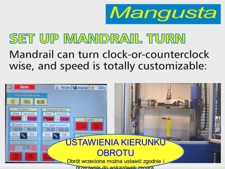 USTAWIENIA KIERUNKU OBROTU Obrót wrzeciona można ustawić zgodnie i przeciwnie do wskazówek zegara.