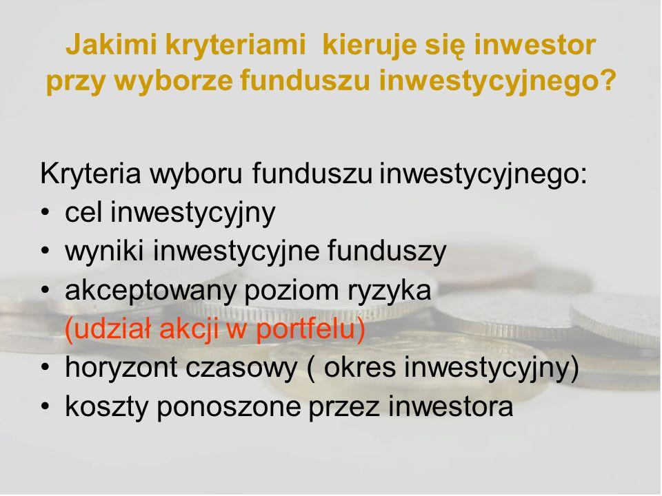 Jakimi kryteriami kieruje się inwestor przy wyborze funduszu inwestycyjnego? Kryteria wyboru funduszu inwestycyjnego: cel inwestycyjny wyniki inwestyc