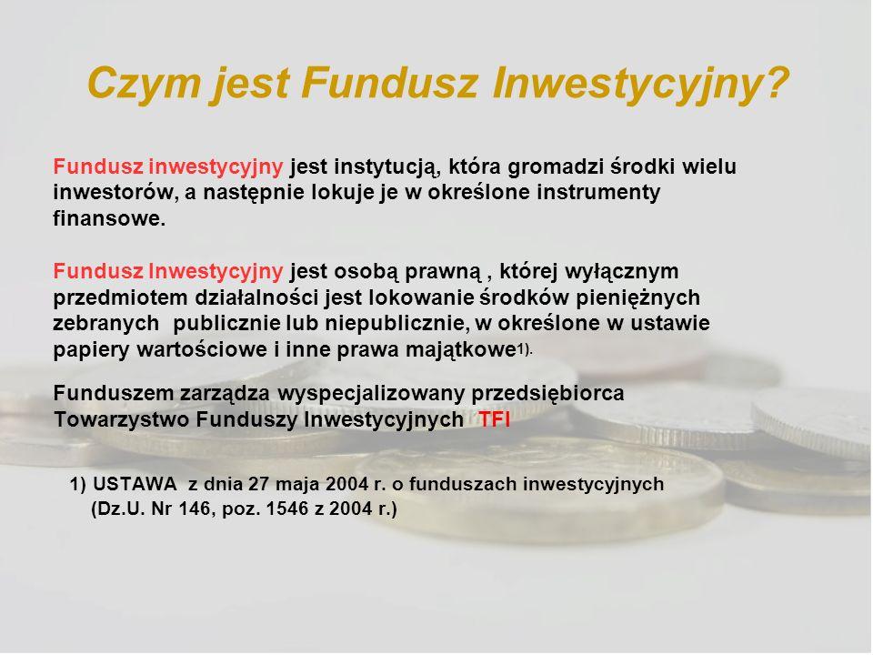 Czym jest Fundusz Inwestycyjny? Fundusz inwestycyjny jest instytucją, która gromadzi środki wielu inwestorów, a następnie lokuje je w określone instru