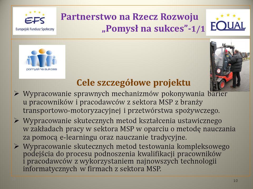 Partnerstwo na Rzecz Rozwoju Pomysł na sukces- 1/1 Cele szczegółowe projektu Wypracowanie sprawnych mechanizmów pokonywania barier u pracowników i pracodawców z sektora MSP z branży transportowo-motoryzacyjnej i przetwórstwa spożywczego.