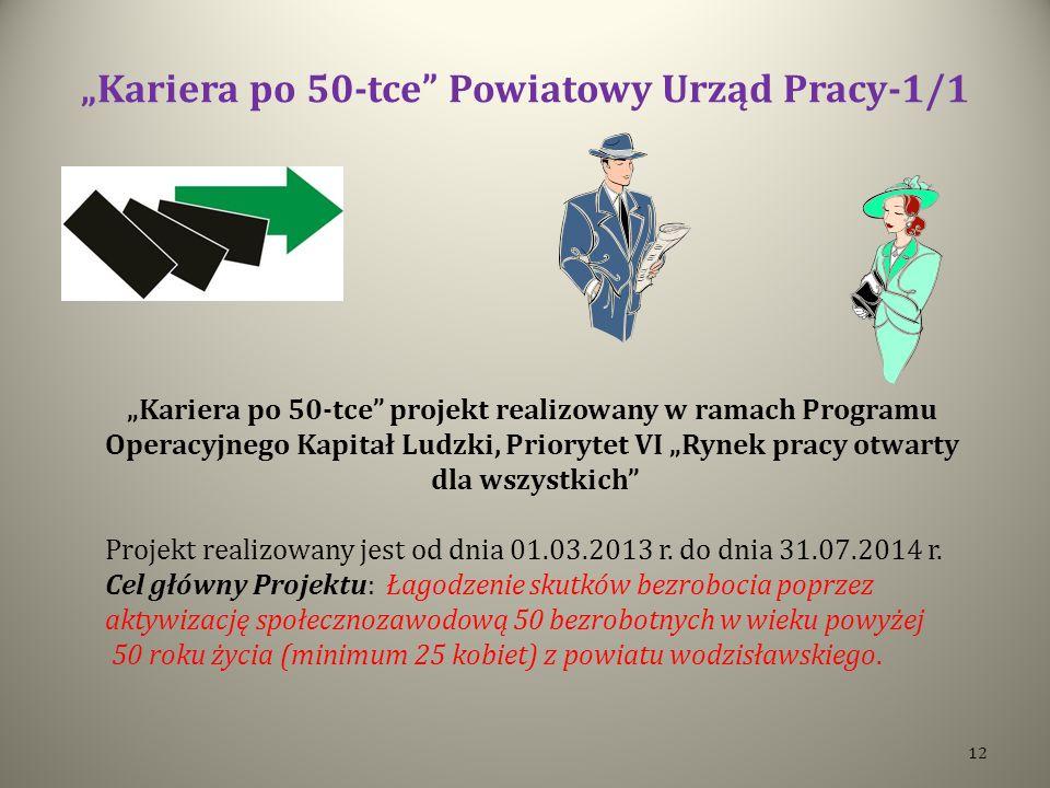 Kariera po 50-tce Powiatowy Urząd Pracy-1/1 Kariera po 50-tce projekt realizowany w ramach Programu Operacyjnego Kapitał Ludzki, Priorytet VI Rynek pracy otwarty dla wszystkich Projekt realizowany jest od dnia 01.03.2013 r.