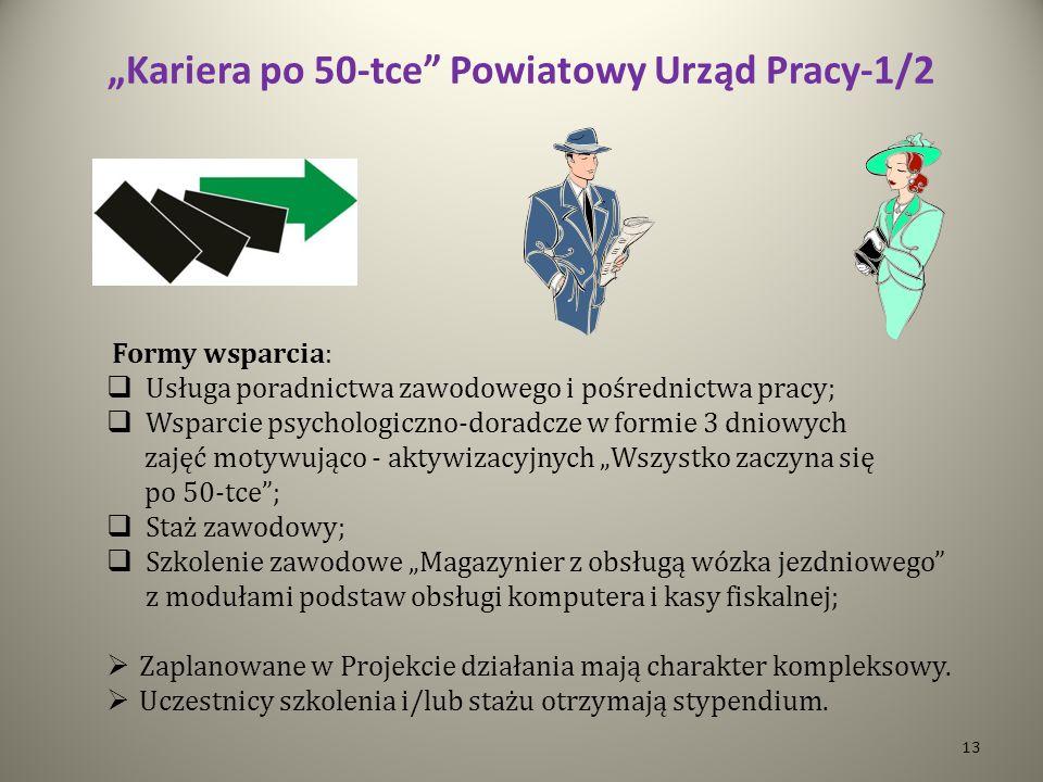 Kariera po 50-tce Powiatowy Urząd Pracy-1/2 Formy wsparcia: Usługa poradnictwa zawodowego i pośrednictwa pracy; Wsparcie psychologiczno-doradcze w for