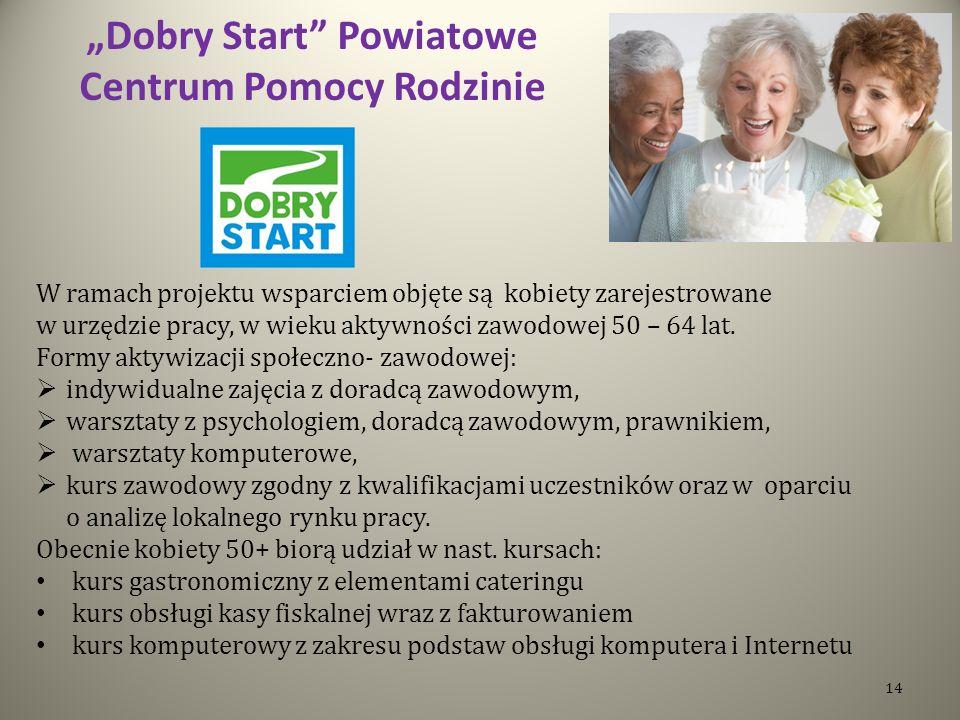 Dobry Start Powiatowe Centrum Pomocy Rodzinie W ramach projektu wsparciem objęte są kobiety zarejestrowane w urzędzie pracy, w wieku aktywności zawodowej 50 – 64 lat.