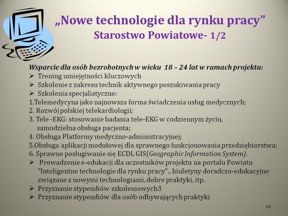 Nowe technologie dla rynku pracy Starostwo Powiatowe- 1/2 Wsparcie dla osób bezrobotnych w wieku 18 – 24 lat w ramach projektu: Trening umiejętności k