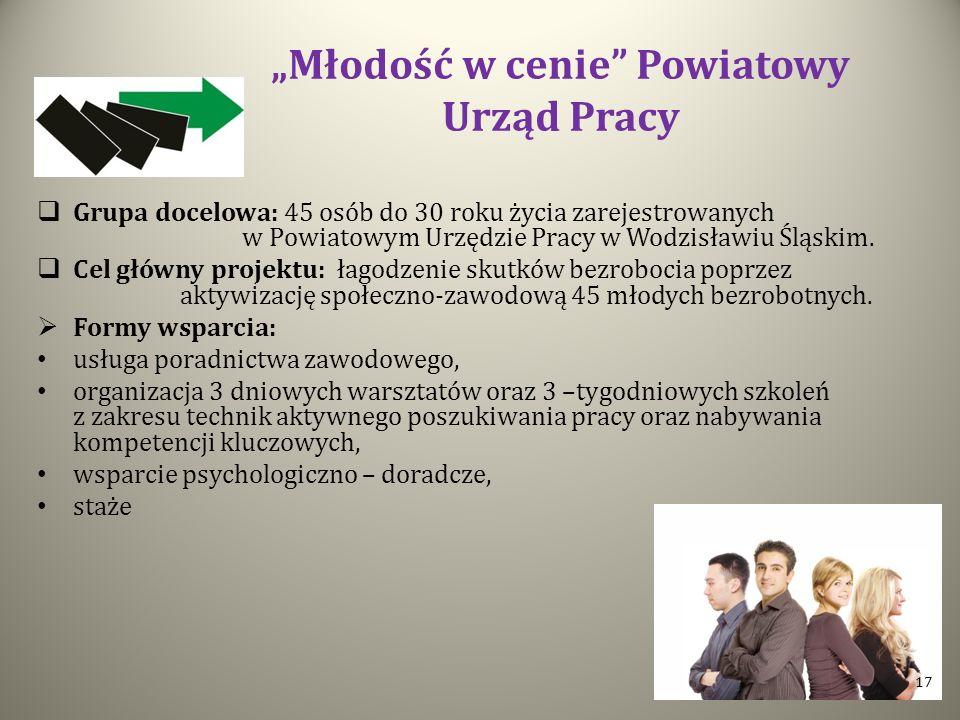 Młodość w cenie Powiatowy Urząd Pracy Grupa docelowa: 45 osób do 30 roku życia zarejestrowanych w Powiatowym Urzędzie Pracy w Wodzisławiu Śląskim. Cel