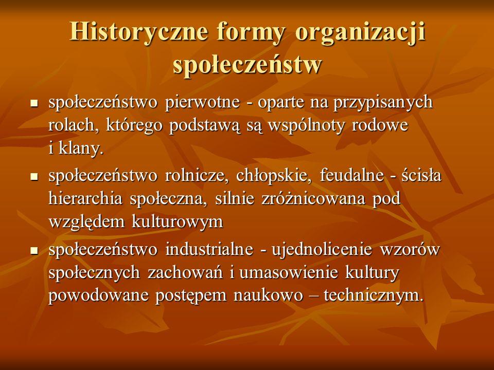 Historyczne formy organizacji społeczeństw społeczeństwo pierwotne - oparte na przypisanych rolach, którego podstawą są wspólnoty rodowe i klany. społ