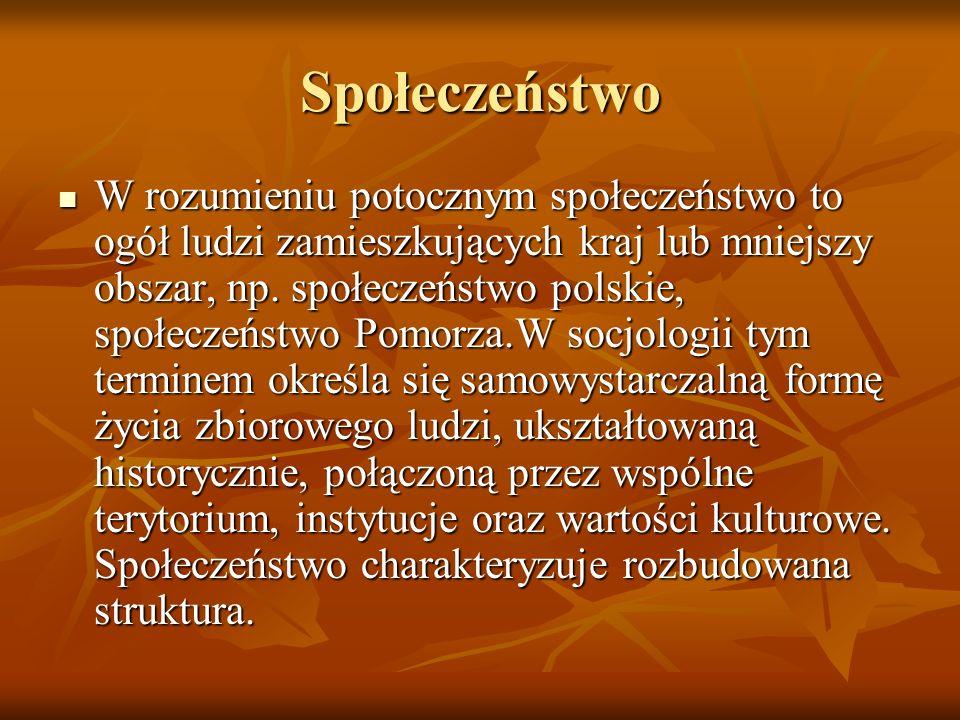 Społeczeństwo W rozumieniu potocznym społeczeństwo to ogół ludzi zamieszkujących kraj lub mniejszy obszar, np. społeczeństwo polskie, społeczeństwo Po