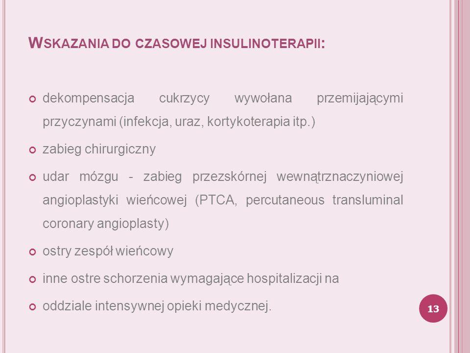 W SKAZANIA DO CZASOWEJ INSULINOTERAPII : dekompensacja cukrzycy wywołana przemijającymi przyczynami (infekcja, uraz, kortykoterapia itp.) zabieg chiru