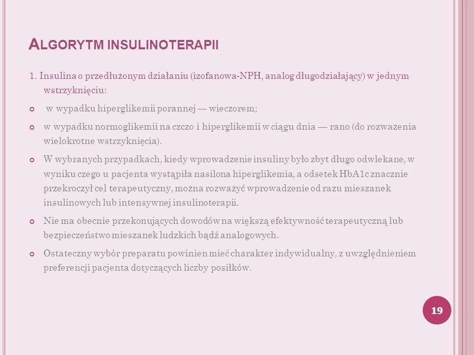 A LGORYTM INSULINOTERAPII 1. Insulina o przedłużonym działaniu (izofanowa-NPH, analog długodziałający) w jednym wstrzyknięciu: w wypadku hiperglikemii