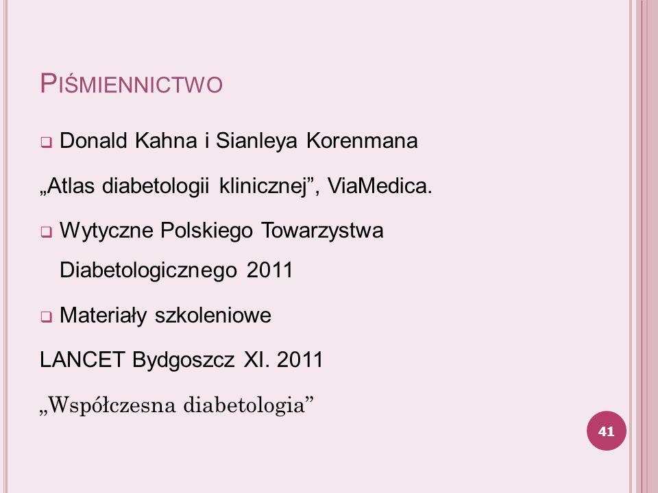 P IŚMIENNICTWO Donald Kahna i Sianleya Korenmana Atlas diabetologii klinicznej, ViaMedica. Wytyczne Polskiego Towarzystwa Diabetologicznego 2011 Mater
