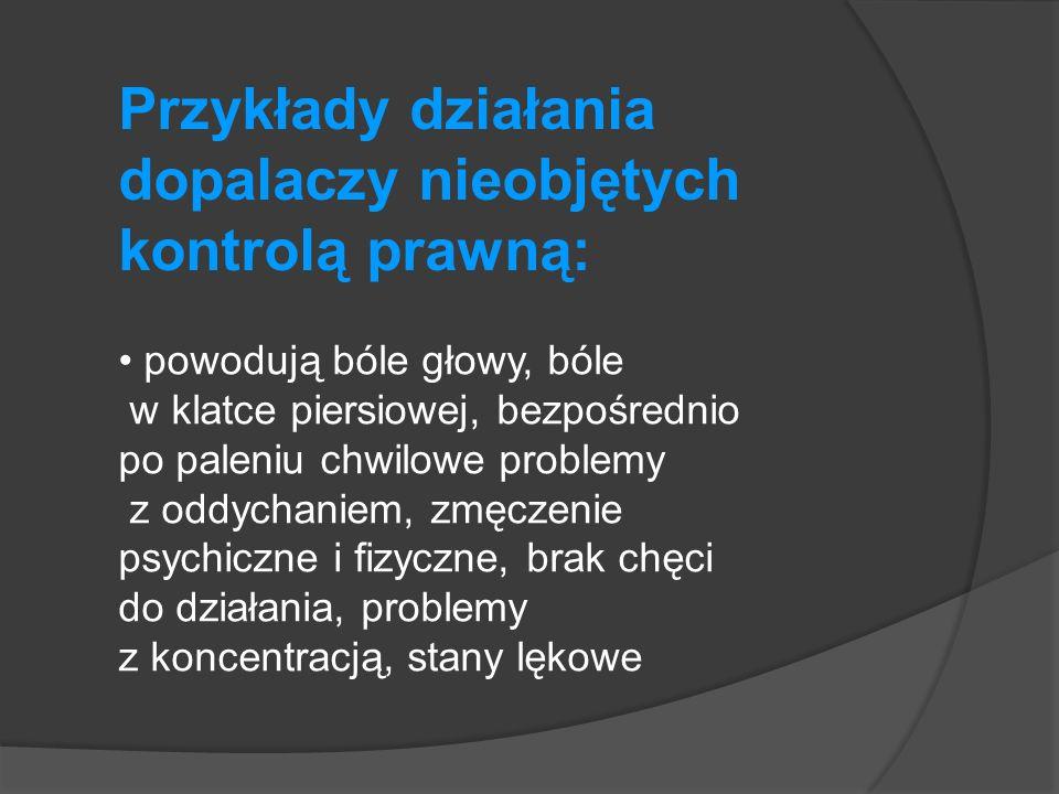 Przykłady działania dopalaczy nieobjętych kontrolą prawną: powodują bóle głowy, bóle w klatce piersiowej, bezpośrednio po paleniu chwilowe problemy z