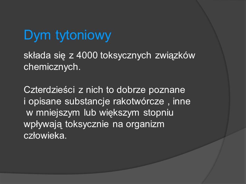 Aceton – składnik farb i lakierów Amoniak- trucizna wywołująca drgawki Arsen – składnik trutek na gryzonie Benzopiren – silne właściwości rakotwórcze Butan – gaz wykorzystywany do produkcji benzyny Skład dymu tytoniowego
