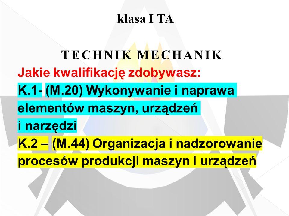 klasa I TA TECHNIK MECHANIK Jakie kwalifikację zdobywasz: K.1- (M.20) Wykonywanie i naprawa elementów maszyn, urządzeń i narzędzi K.2 – (M.44) Organiz