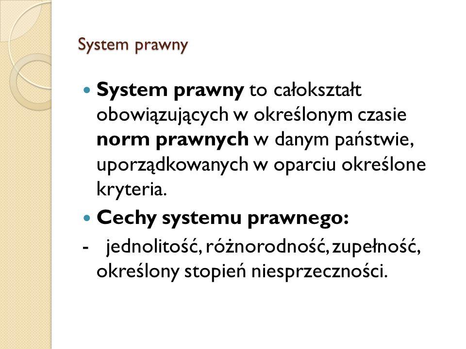System prawny System prawny to całokształt obowiązujących w określonym czasie norm prawnych w danym państwie, uporządkowanych w oparciu określone kryt