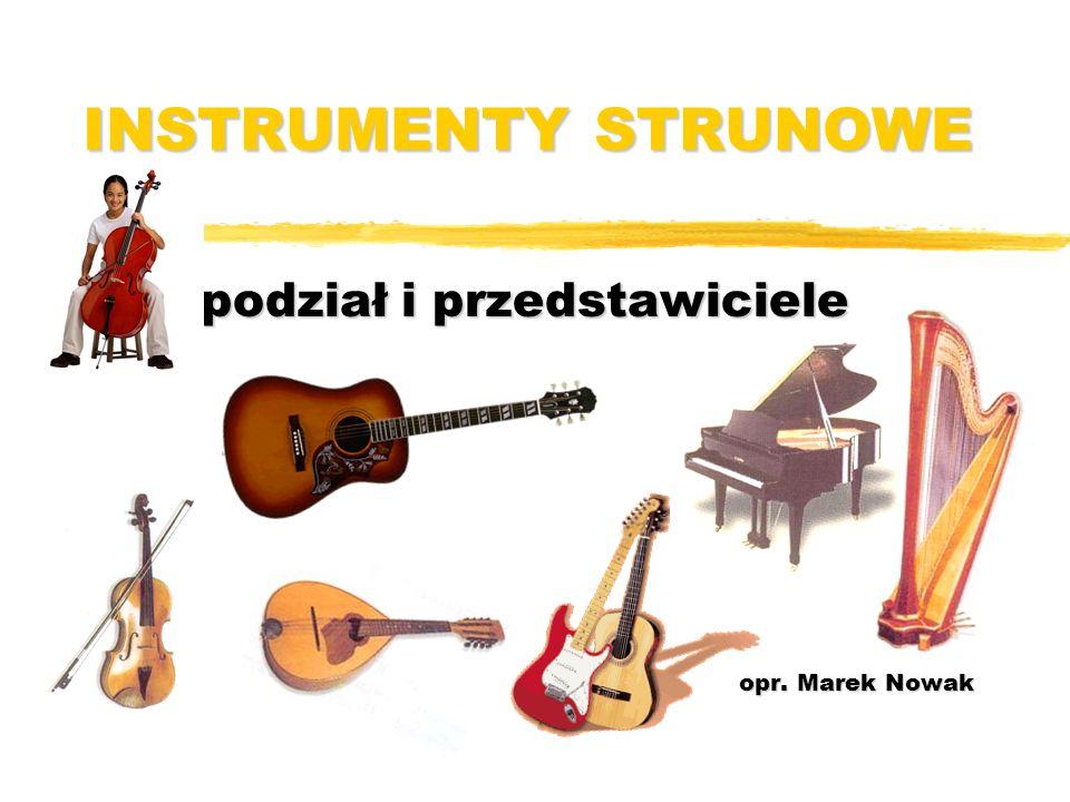 Instrumenty strunowe (chordofony) to takie, które wydają dźwięk na skutek drgania strun.