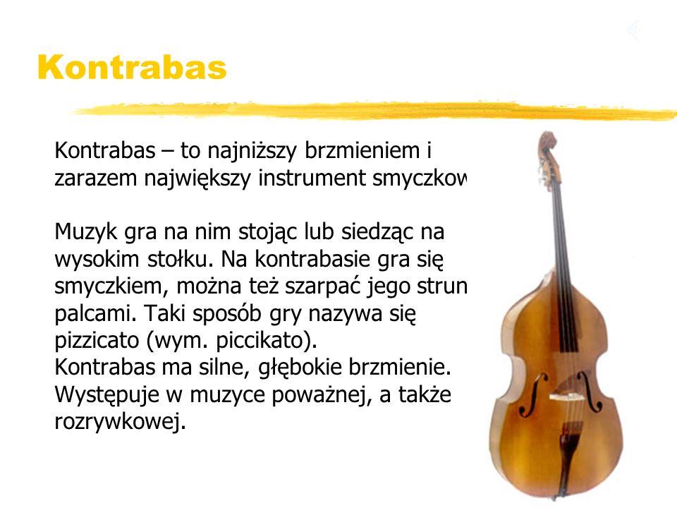 Kontrabas Kontrabas – to najniższy brzmieniem i zarazem największy instrument smyczkowy. Muzyk gra na nim stojąc lub siedząc na wysokim stołku. Na kon
