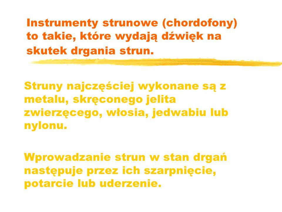 Instrumenty strunowe (chordofony) to takie, które wydają dźwięk na skutek drgania strun. Struny najczęściej wykonane są z metalu, skręconego jelita zw