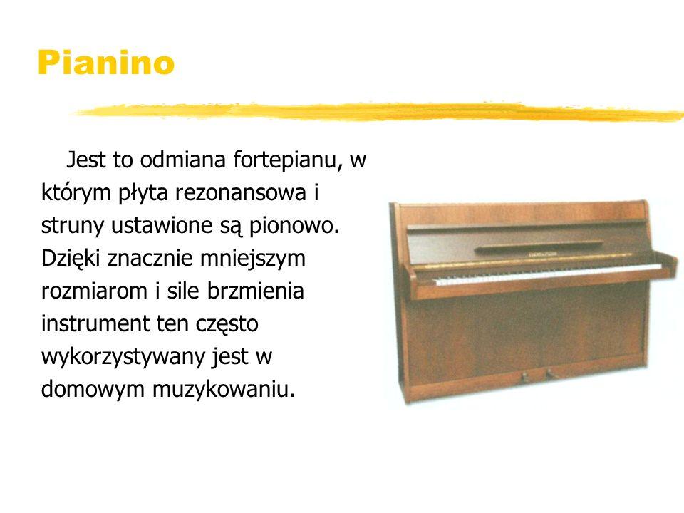 Pianino Jest to odmiana fortepianu, w którym płyta rezonansowa i struny ustawione są pionowo. Dzięki znacznie mniejszym rozmiarom i sile brzmienia ins
